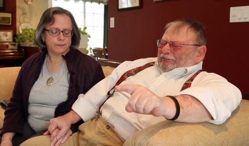 Marianne and Claude Thouret Jr. of Matawan speak about