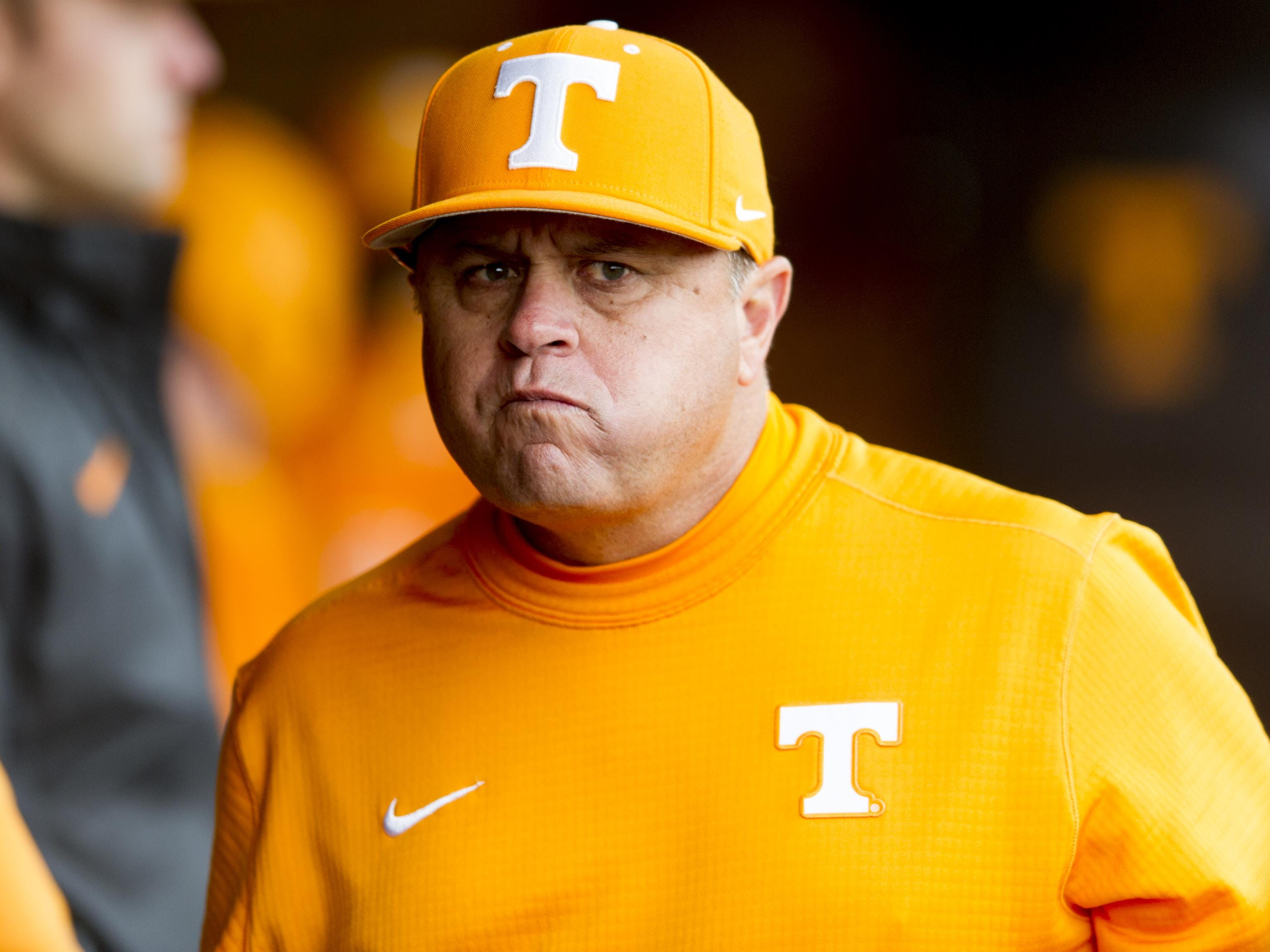 Tennessee Baseball Head Coach Dave Serrano during a game against University of Arkansas at Lindsey Nelson Stadium in Knoxville, Tennessee on Saturday, May 6, 2017; Knoxville, TN; Mandatory Credit: Calvin Mattheis/Knoxville News Sentinel via USA TODAY NETWORK