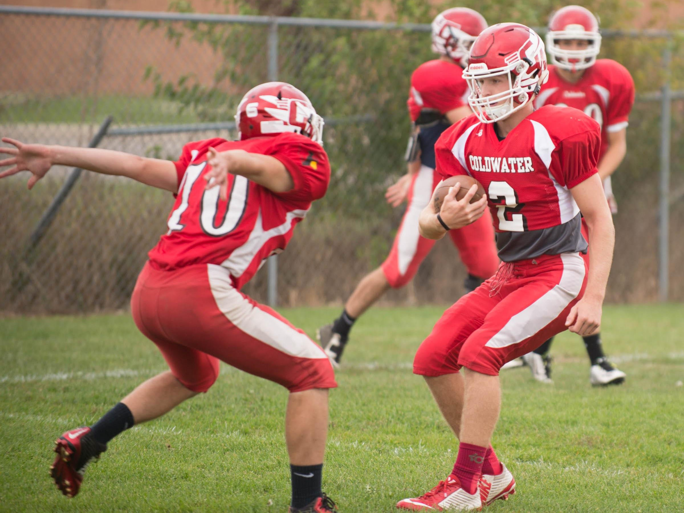 Luke Beckhusen (No. 2) and Coldwater is undefeated on the season and can clinch a share of a league title with a win at Harper Creek on Friday.