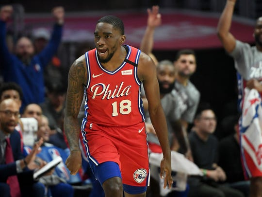 Philadelphia 76ers guard Shake Milton (18) heads downcourt after a three point basket in the first half of the game against the Los Angeles Clippers at Staples Center.