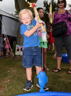 Huck Hoffmeyer went fishing for a prize during last year's Milford Memories.