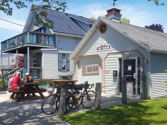 Ahnapee Brewery's taproom is in a converted garage along the Ahnapee River in Algoma.