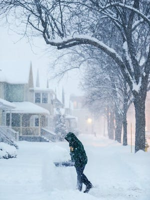 """Snow falling steadily. Forecasters predict 12-18"""" before the storm is over."""