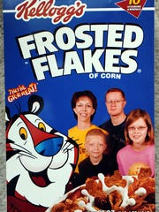 The Sabel family — Linda, Bill, Matthew and Amanda — had their picture put on a cereal box when they visited the Kellogg's factory in Battle Creek, Mich., about six years ago.