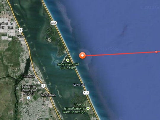 Great white shark Katharine is just off the Sebastian Inlet entrance to the Indian River Lagoon.