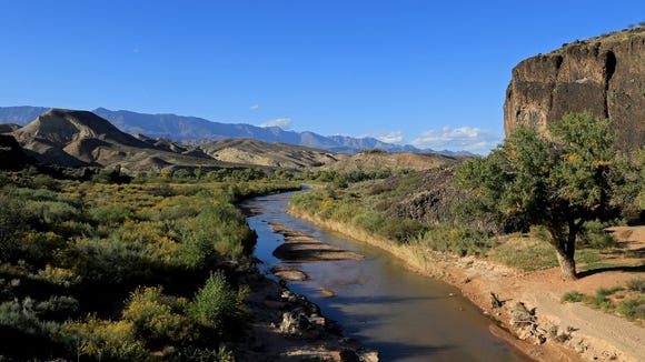 The Chub Trace in Confluence Park offers panoramic views of the Virgin River as it flows toward its confluence with Ash Creek and LaVerkin Creek.