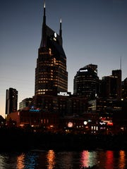 The Nashville skyline turns dark as photographed from the Cumberland River  Monday, Aug. 21, 2017 in Nashville, Tenn.