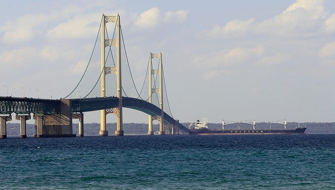 The Mackinac Bridge straddles the Straits of Mackinac.