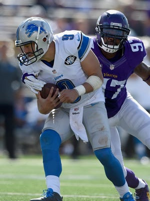The Vikings' Everson Griffen sacks Lions QB Matthew Stafford during the fourth quarter of the Lions' loss Sunday in Minneapolis.