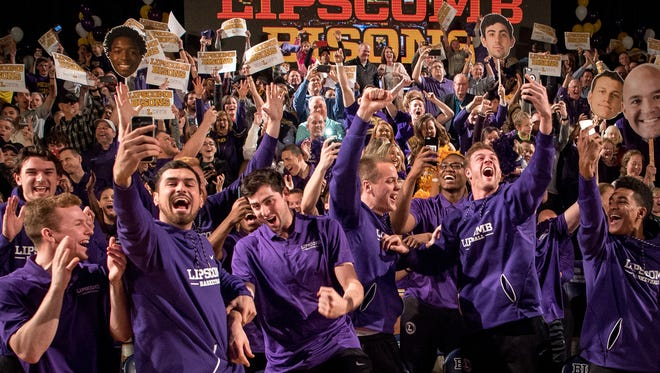 Lipscomb's basketball team reacts to learning they will play North Carolina in the NCAA tournament at Allen Arena, Sunday, March 11, 2018, in Nashville, Tenn.