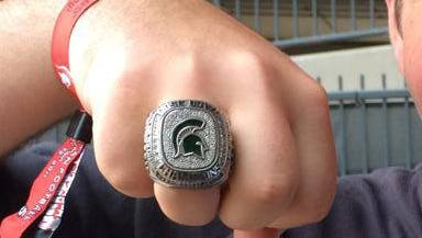 A replica of Michigan State's latest Rose Bowl ring