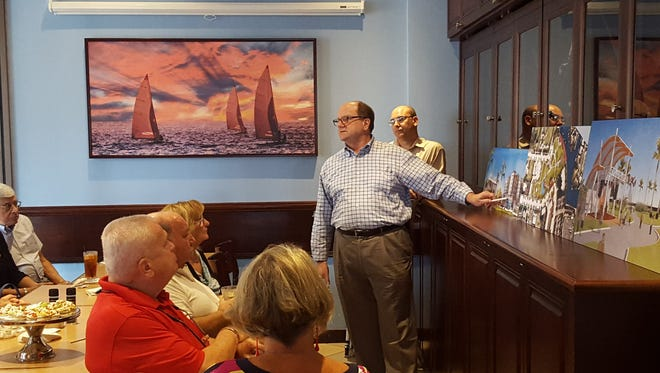 Land use attorney Patrick Neale presents the proposed Veterans Community Park hotel project to a small group of community leaders, business owners and other Marco Island residents at CJs on the Bay on Aug. 31. Neale will present the project to the Planning Board today at 9 a.m. in the community room, 51 Bald Eagle Drive.