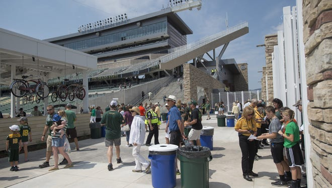 Fans attend a scrimmage at CSU's stadium on 2017.