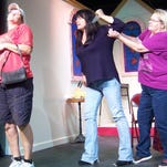 Susie Groll, Debi Wood and Carol Ghonsuli rehearse for the Machickanee Players production of Dearly Beloved.