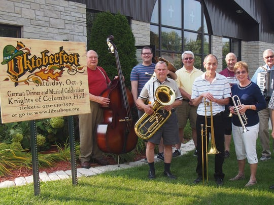 Hope Lutheran's brass ensemble members include, back row, from left: Glenn Demeske, Sam Joseph, Dale Shipe, Dennis Benjamin, Bob Shirek; front row, from left: Vern Voigt, Ken Hill, Jane Shirek and Garvin Shields. Not pictured are Sheyenne Hoover, Dan Seidl and Glenn Lutze. The group will perform at Hope Lutheran Church's Oktoberfest on Oct. 3.