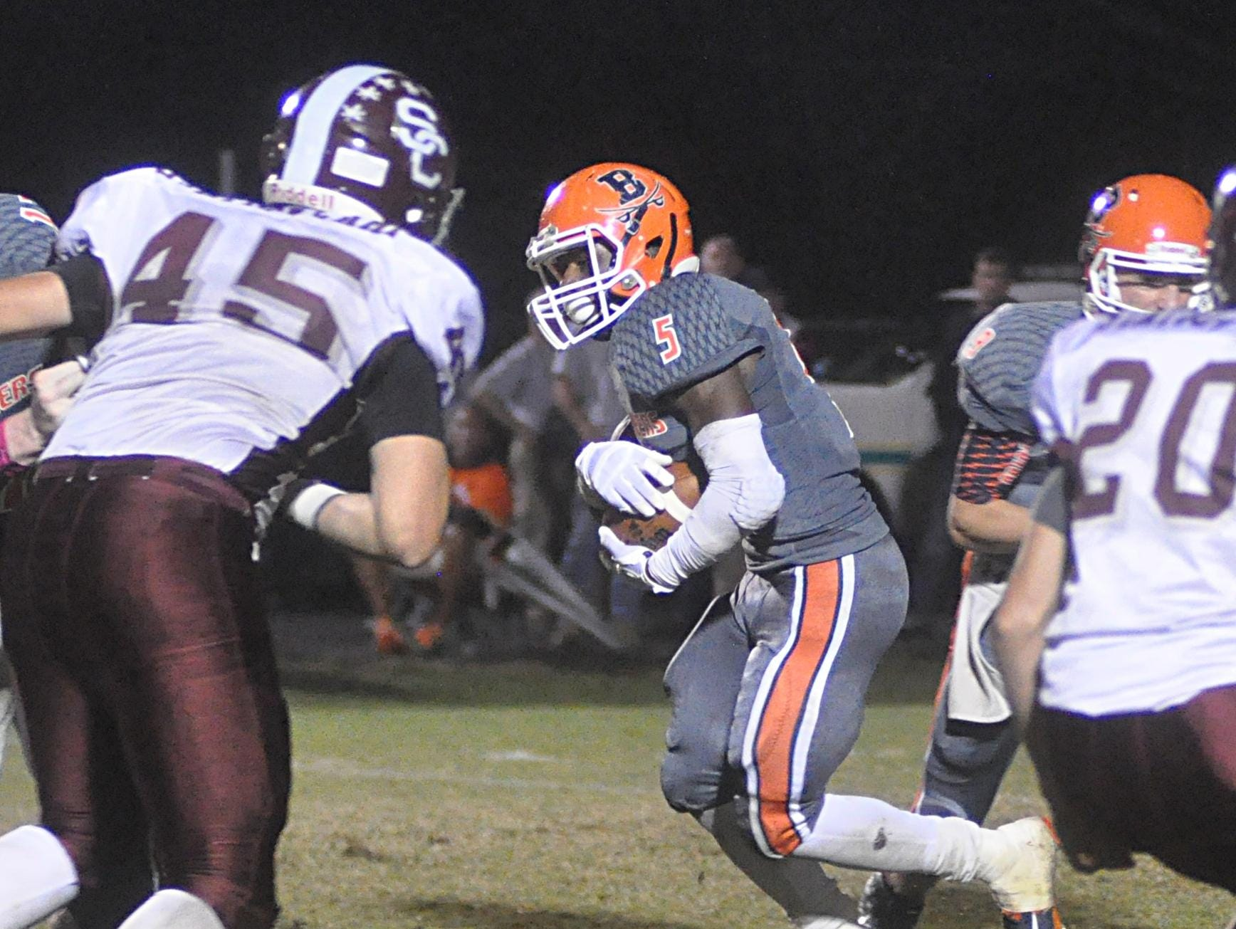 Beech senior Rodrick Napper carries the ball the first-quarter. Napper rushed for 176 yards and two touchdowns on 18 carries.