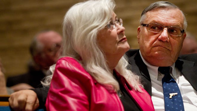 Sheriff Joe Arpaio and his wife, Ava, attend the state GOP party yearly meeting at Tempe Grace Community Church.