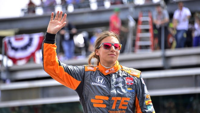 Simona de Silvestro waves to the crowd during driver introductions for the 2015 Indianapolis 500, Sun., May 24, 2015.