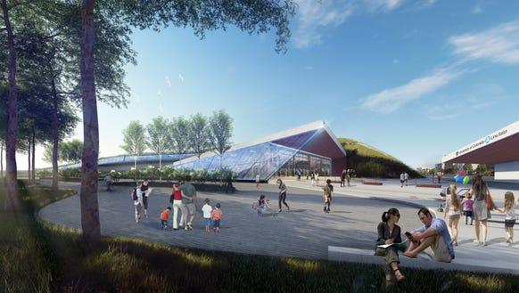 A rendering of a Virgin Hyperloop One terminal in Denver.