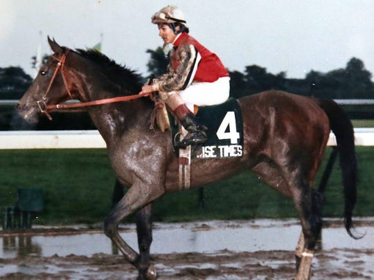 Wise Times, with Chris DeCarlo riding, after winning the $300,000 Grade 1 Haskell Invitational on July 26, 1986.