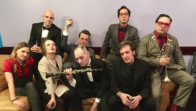The eclectic, circus-like Brooklyn-based World/Inferno Friendship Society is led by Jack Terricloth, center, aka Bridggewater-raised Peter Ventantonio. They will be performing Feb. 10 at White Eagle Hall in Jersey City. Pictured at top far left is keyboardist Scott Hollingsworth, Ventantonio's band mate on and off for 30 years who also grew up in Bridgewater. In high school, they worked together selling subscriptions to the Courier News.