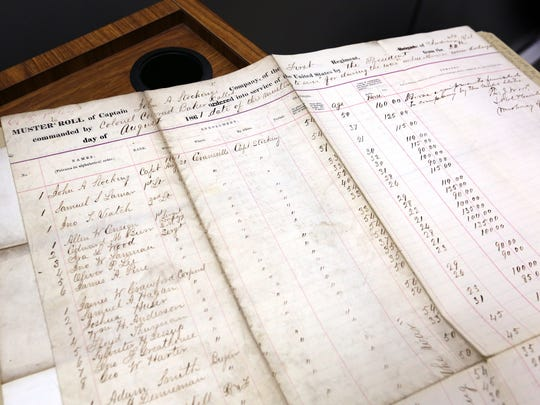 A page of Aug. 20, 1861, muster-in rolls for Evansville