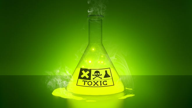 Toxic Chemical - a glowing chemical in a bottle.