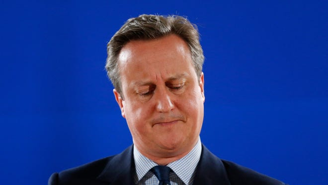 Britain's Prime Minister David Cameron holds a news conference at the end of the first day of the European Summit in Brussels, Belgium, 28 June 2016.