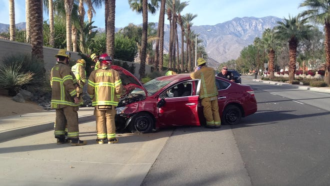 A Rancho Mirage man was injured in a crash on Gerald Ford Drive in Cathedral City Tuesday.