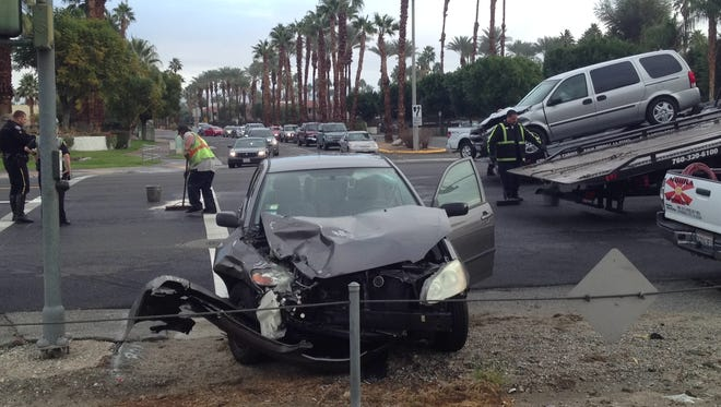 A Toyota Corolla collided with a Chevrolet minivan on East Palm Canyon Drive at Golf Center Drive in Palm Springs Tuesday.