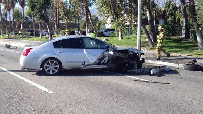 A Nissan crashed on Gene Autry Trail at Chia Road Thursday morning in Palm Springs. Its driver was taken to a hospital.