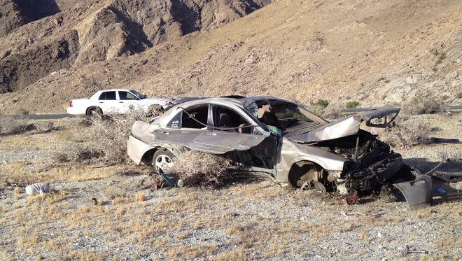 A Palm Springs man was injured after his Lincoln sedan overturned on Highway 111 in Windy Point Tuesday morning.