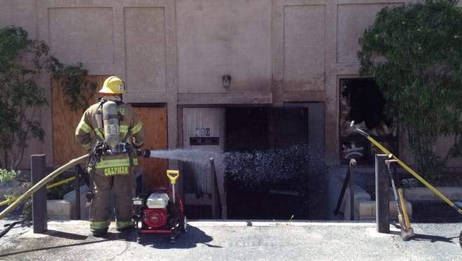 Firefighters were called to a blaze at an abandoned building at Pierson Boulevard and Palm Drive in Desert Hot Springs Monday morning. Officials say it may have been caused by transients.