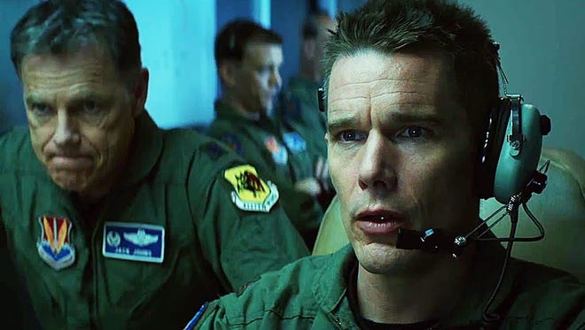 """In """"Good Kill,"""" Ethan Hawke (left) stars as a drone pilot who has trouble reconciling his ethics to his new role."""