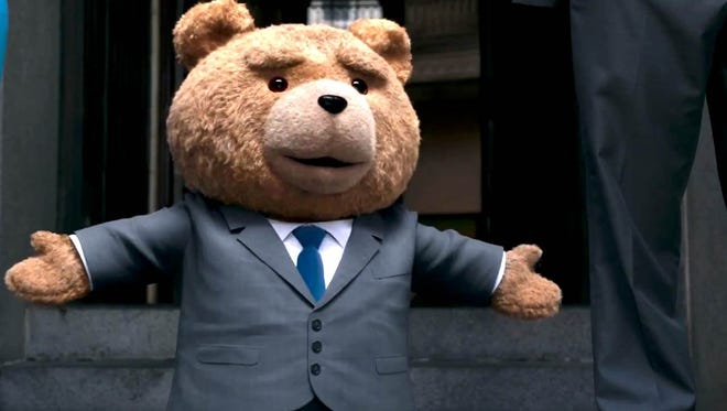 """Ted and his best buddy John (Mark Wahlberg) head to court to fight for the talking teddy bear's rights in """"Ted 2."""""""