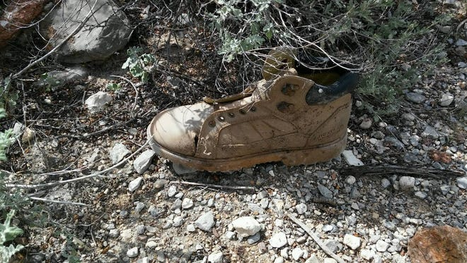 A boot found near bones in the desert near Trans Mountain Road on Aug. 22.