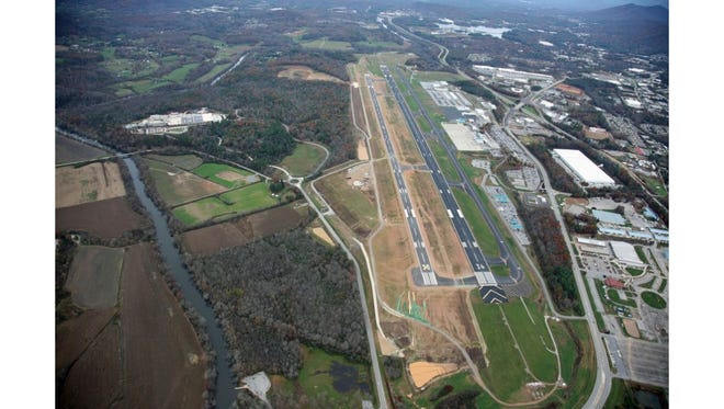 Aerial view of Asheville Regional Airport. November 2015.