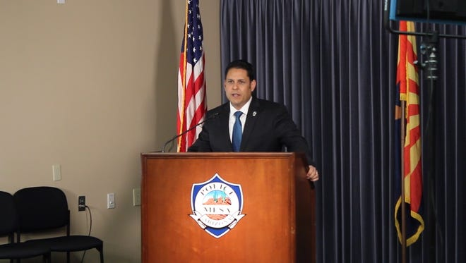 Mesa Police Chief John Meza talks to the media about the 3-year-old abuse case on Jan. 19, 2016.