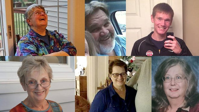 Victims of the Kalamazoo mass shootings. Clockwise, from upper left: Barbara Hawthorne, 68; Richard Smith, 53; Tyler Smith, 17; Dorothy Brown, 74; Mary Jo Nye, 60; Mary Lou Nye, 62.