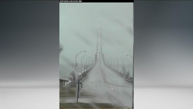 High winds are affecting travel across the Mackinac Bridge on Wednesday, March 16, 2016.