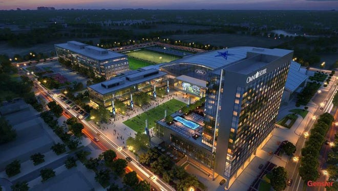 An artist's rendering of the Omni Frisco Hotel and Dallas Cowboys practice facility