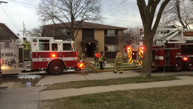 Fire crews at a fire in the 1100 block of Cherry Street.