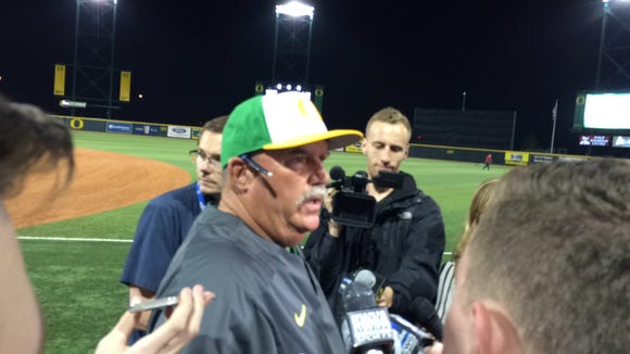 Oregon baseball coach George Horton talks to the media Monday after the Ducks lost to Oregon State at PK Park in Eugene.