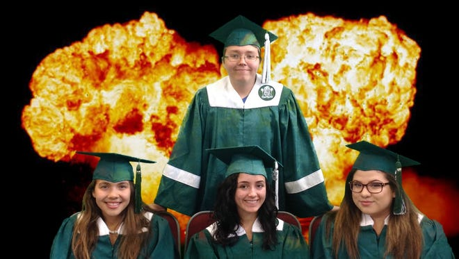Langston Navarro crafted an epic graduation photo to celebrate the four seniors in the video production class at Virgin Valley High School.