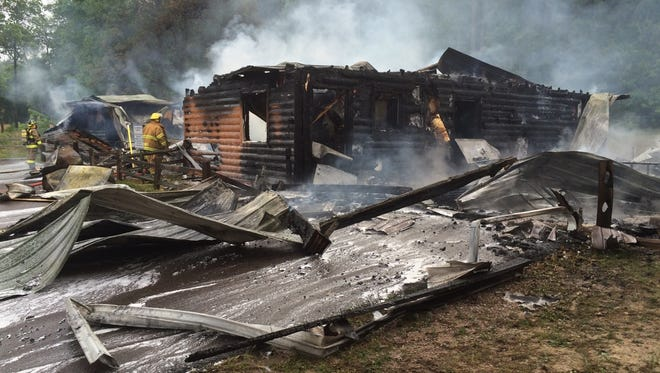 The building at the Levis Mound Trail Center was a total loss.