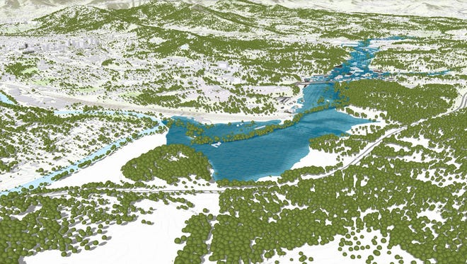 A three-dimensional model of Asheville and Biltmore Village that displays complex flood data. Blue areas represent the water layer.