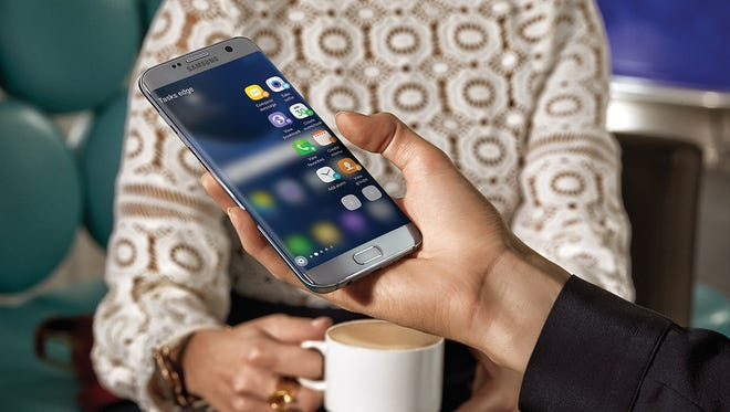 A promotional image from Samsung shows the Galaxy S7 Edge phone with screen that curves around the side of the device.