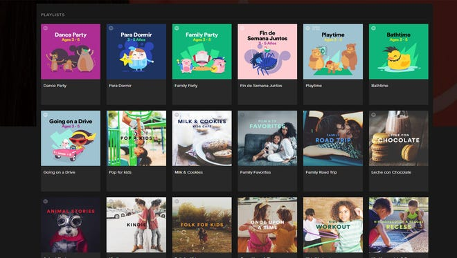 A selection of playlists from Spotify's Kids section.