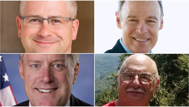 Candidates in Western North Carolina's U.S. House races are, starting in the upper left and moving clockwise, Patrick McHenry, Andy MIllard, Mark Meadows and Rick Bryson.