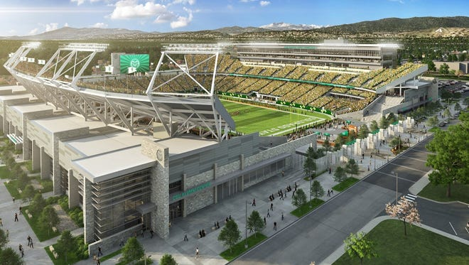 An artist's rendering of CSU's new on-campus stadium, set to open for the 2017 football season. All premium seating areas have sold out through at least 2020, school officials said Thursday.